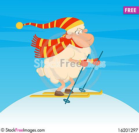 Cartoon Funny Skier Sheep..