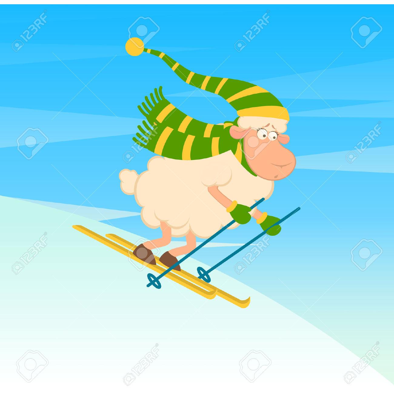 Cartoon Funny Skier Sheep Royalty Free Cliparts, Vectors, And.
