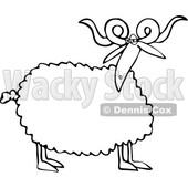 Anthropomorphic Sheep Snow Skiing Clipart © Dennis Cox #4581.