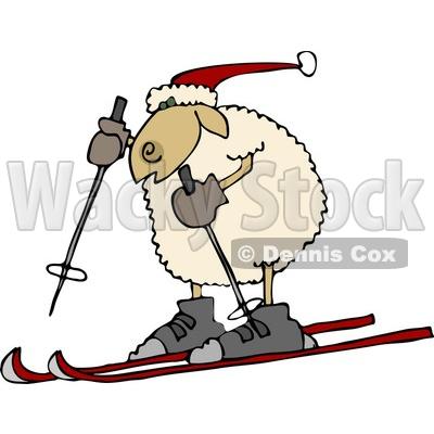 Sheep Snow Skiing Clipart © Dennis Cox #4581.