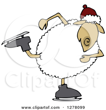Anthropomorphic Sheep Snow Skiing Clipart by Dennis Cox #4581.