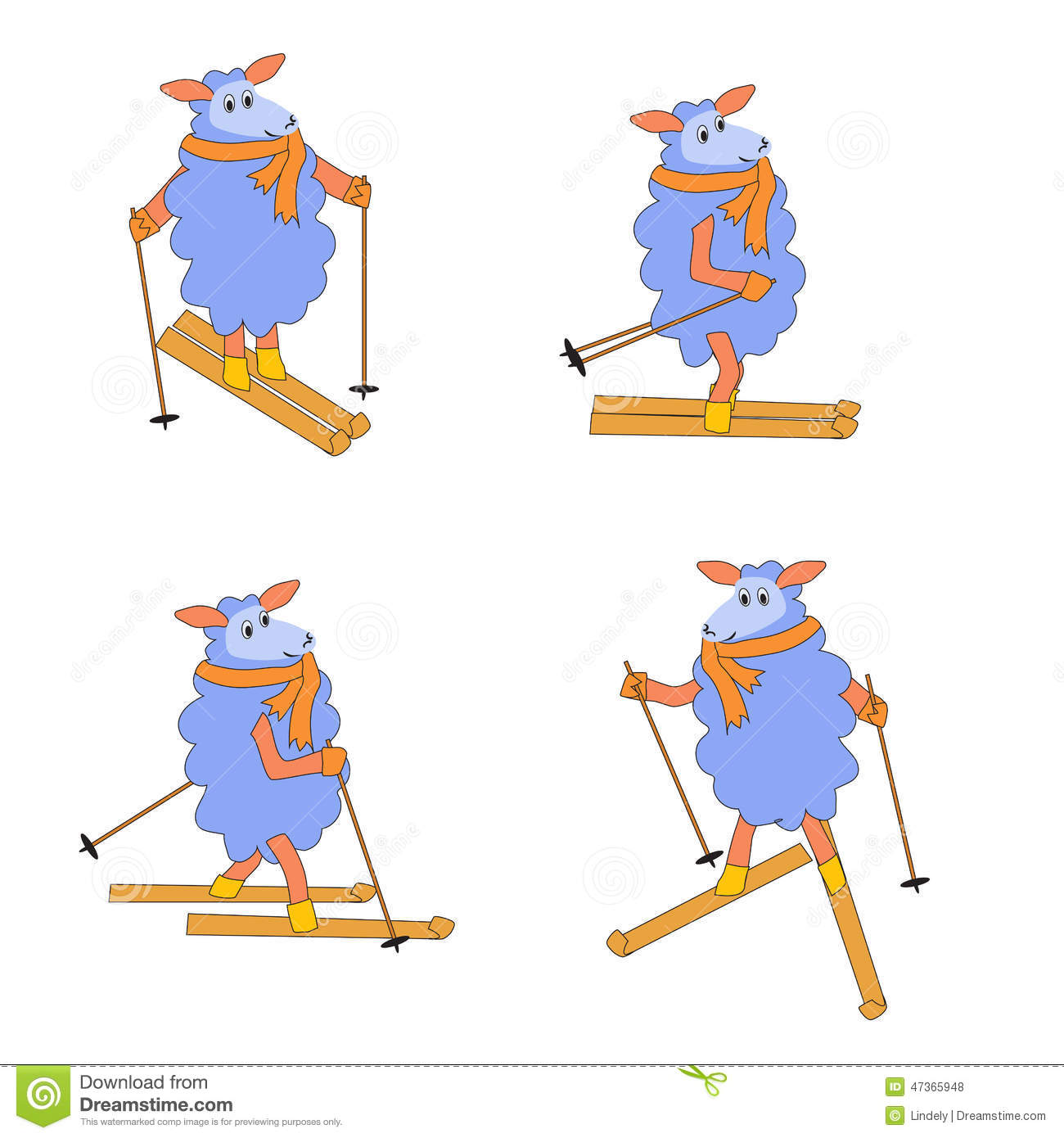 Four Isolated Sheep Skiing Stock Vector.