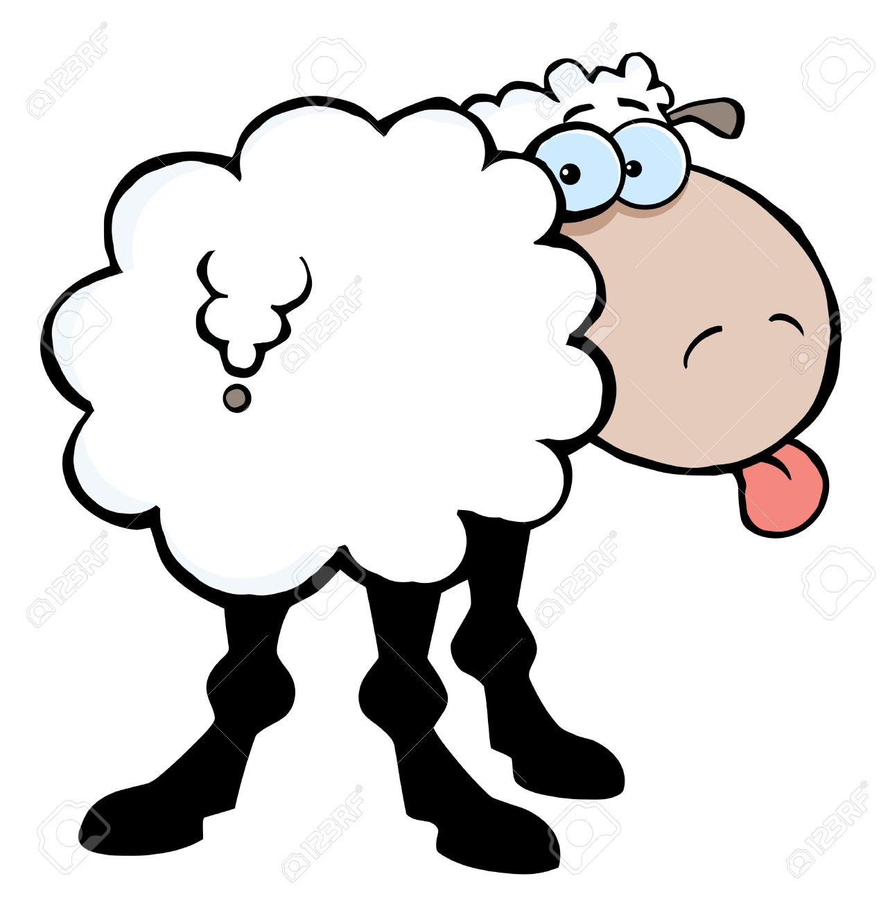 Funky Sheep Sticking Out His Tongue Stock Photo, Picture And.