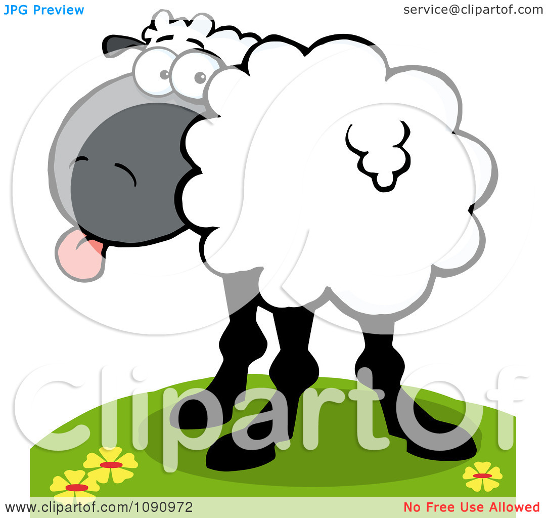 Clipart White Sheep Looking Back And Sticking Its Tongue Out.