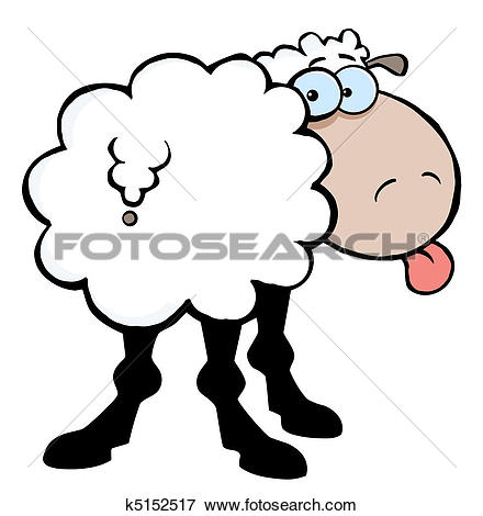 Clip Art of Sheep Sticking Out His Tongue k5152517.