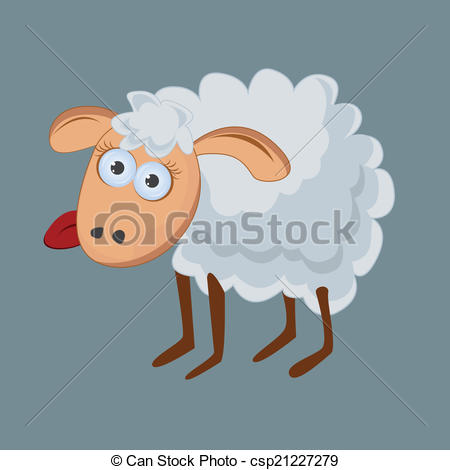 Vectors Illustration of Funny sheep with his tongue hanging out.