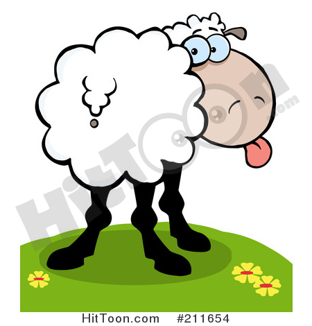 Sheep Clipart #211108: Goofy Sheep Sticking Its Tongue out and.