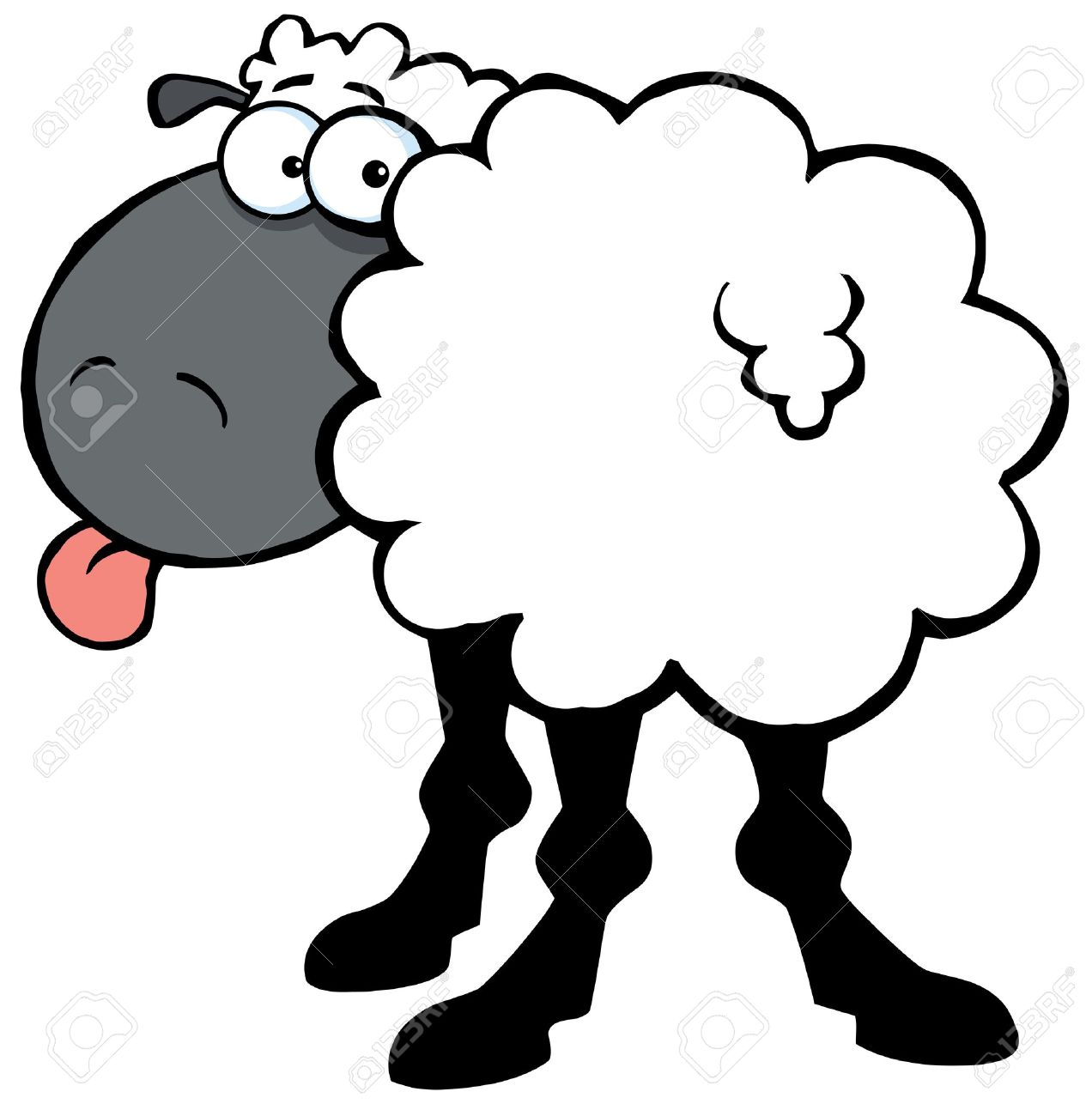 Funky Black Sheep Sticking Out His Tongue Royalty Free Cliparts.