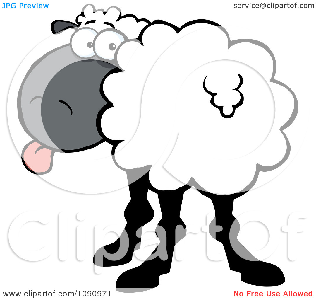 Clipart White Sheep Turning Its Head Back And Sticking Its Tongue.