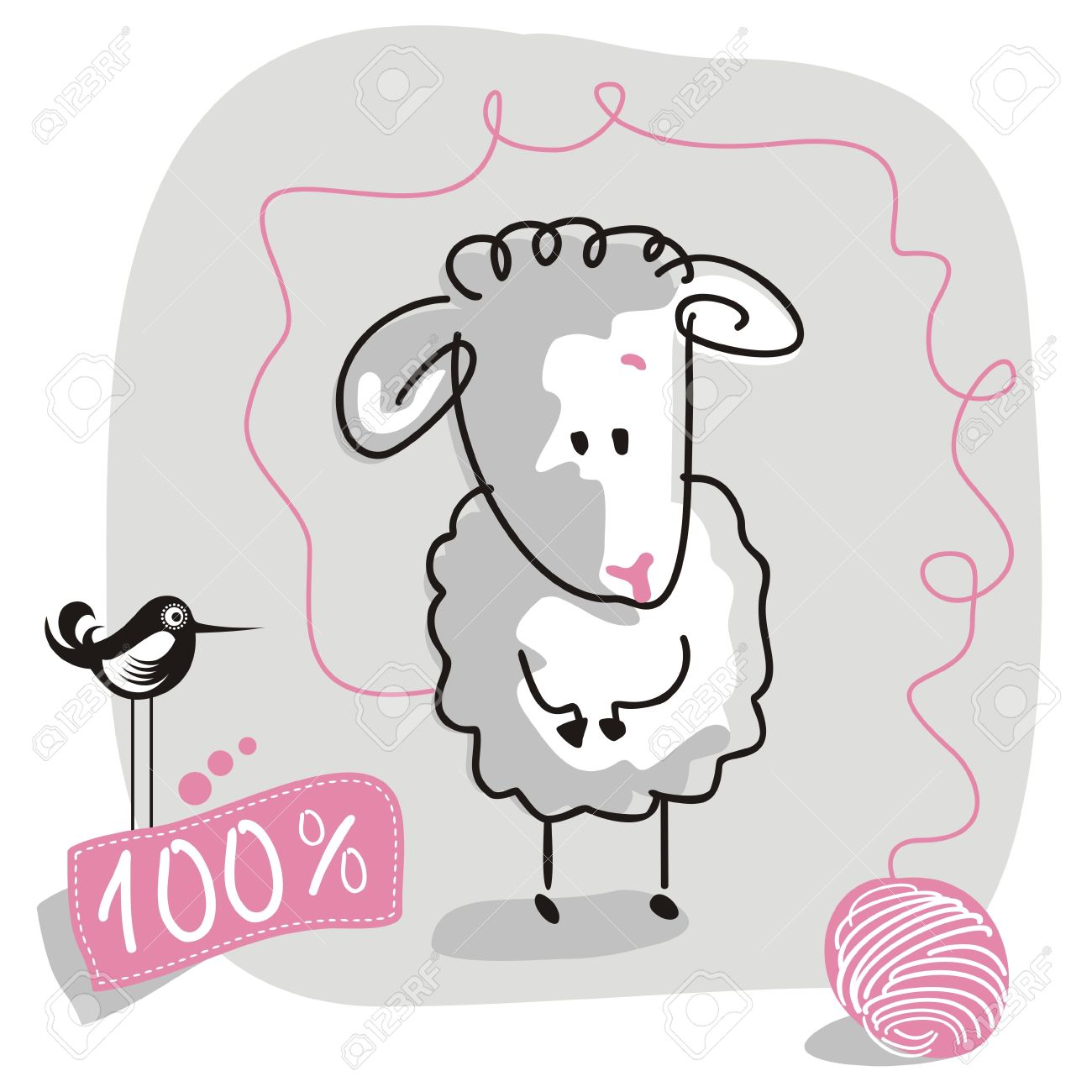 Cute Doodled Sheep With Wool Quality Label Royalty Free Cliparts.