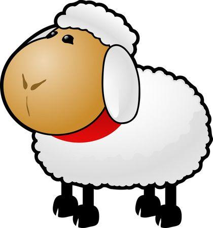 Cartoon Sheep Clipart Illustration.
