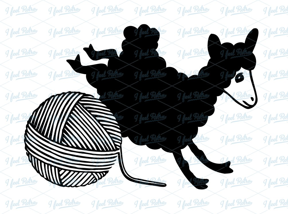 Retro Clipart: Sheep with ball of wool.