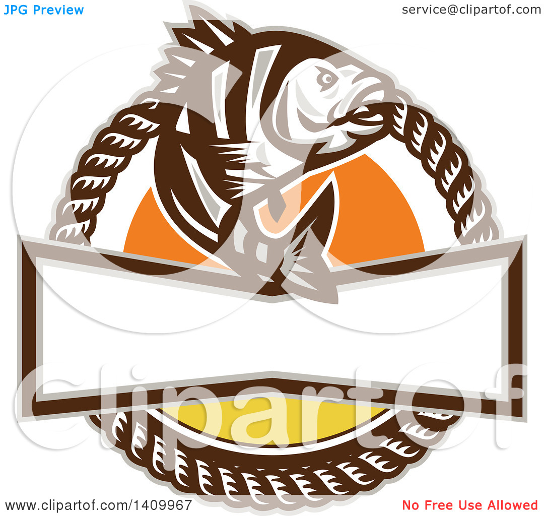 Clipart of a Retro Sheepshead Fish over a Sunset, in a Frame of.