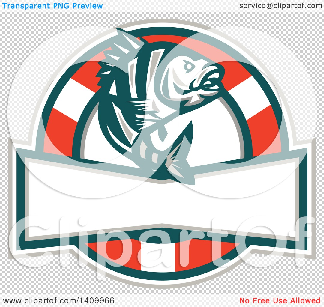 Clipart of a Retro Jumping Sheepshead Fish over a Life Buoy and.