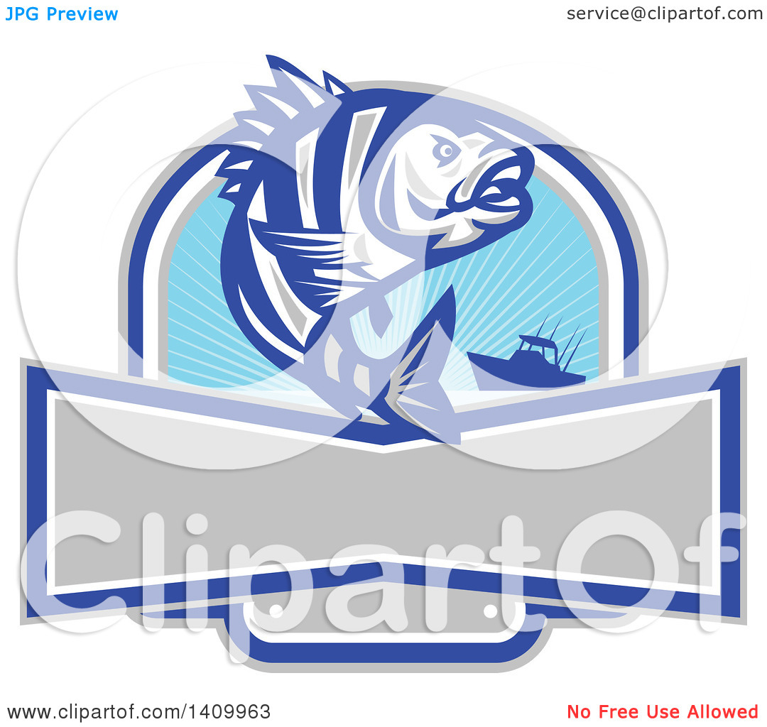Clipart of a Retro Jumping Sheepshead Fish over a Silhouetted Boat.