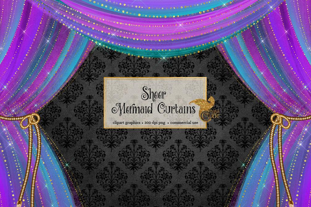 Sheer Mermaid Curtains Clipart.