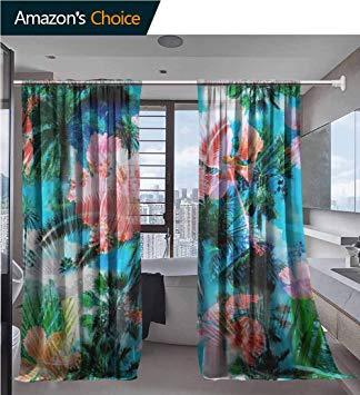Amazon.com: vanfanhome Sheer Curtains for Bedroom, Hibiscus.