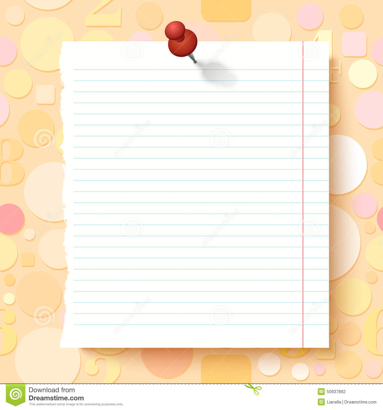 Empty Exercise Book Paper Sheet On Light Background Stock Vector.