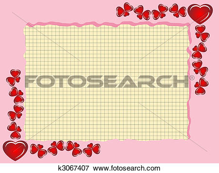Clip Art of Framework from hearts with sheet from a notebook.