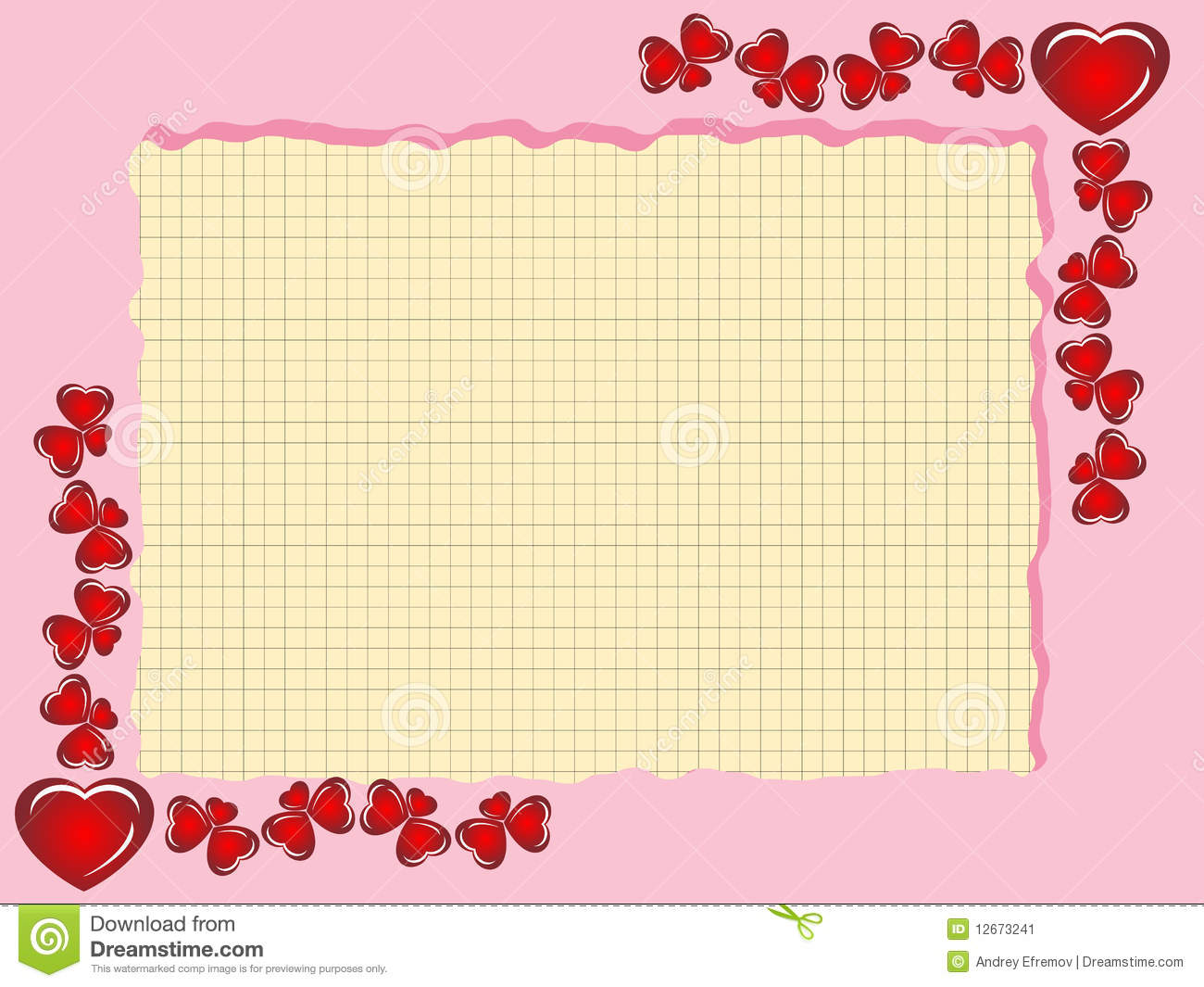 Framework From Hearts With Sheet From A Notebook Stock Image.
