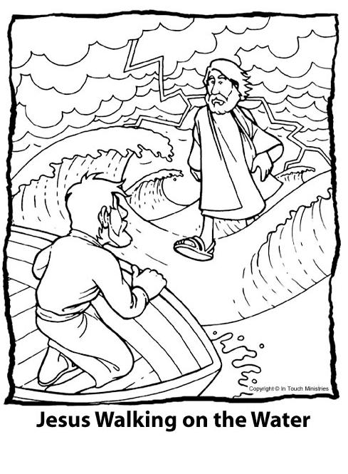 Jesus Walks on Water Coloring Pages.