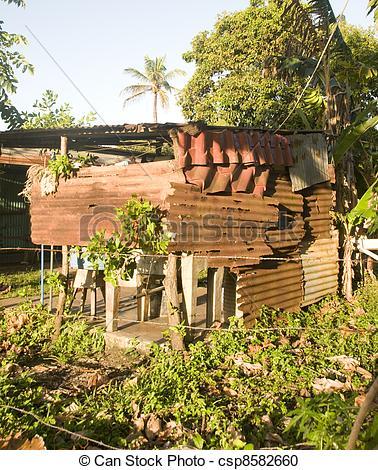 Stock Photography of zinc house building Big Corn Island Nicaragua.