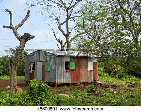Stock Photography of zinc sheet metal house Corn Island Nicaragua.