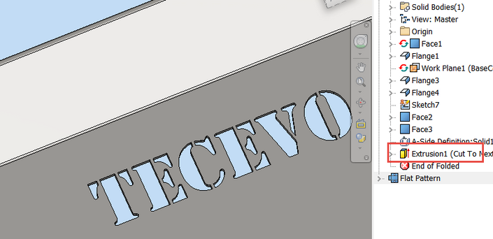 Solved: Text cut in sheetmetal part.