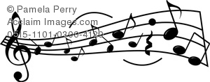 Clip Art Picture of a Sheet Music Design with Musical Staff and.