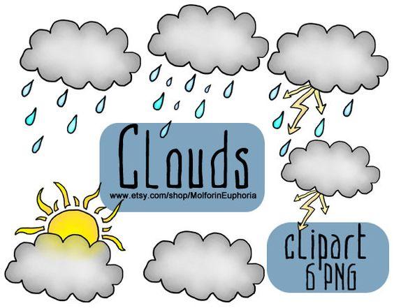 Clouds clipart, weather clip art, rain illustration, rain collage.