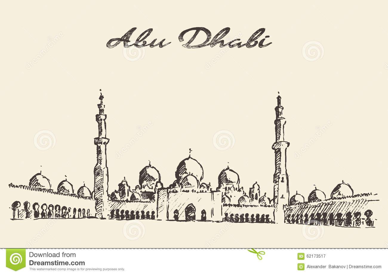 Abu Dhabi Mosque Sheikh Zayed Mosque Drawn Stock Vector.