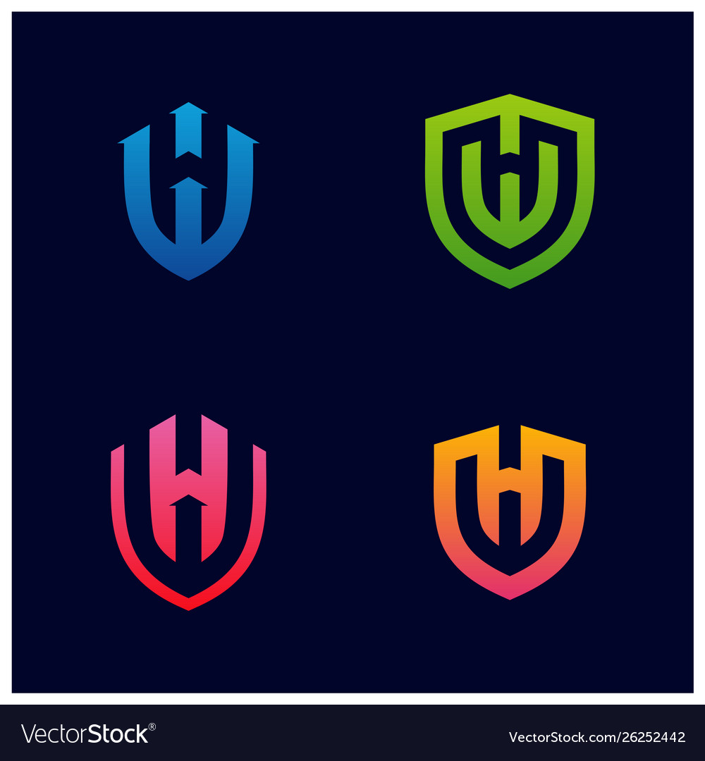 Set hw shield logo design initial hw logo.