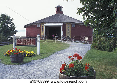 Stock Photograph of Shelburne, Vermont, VT, Red Round Barn at the.