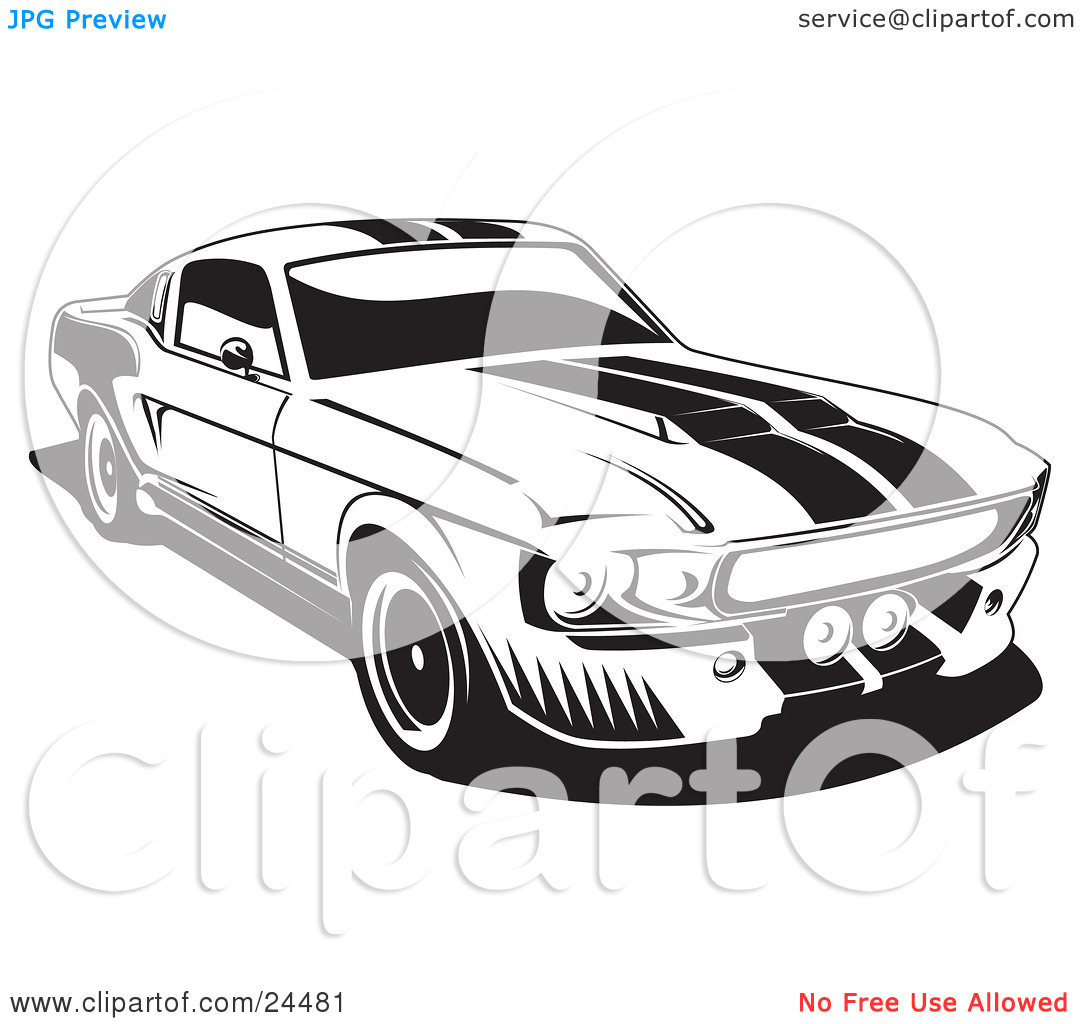 Shelby car clipart black and white.