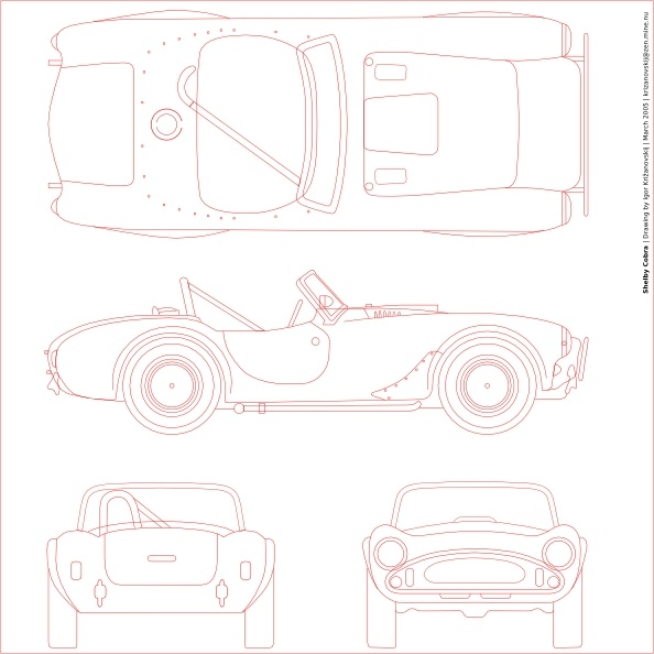 Shelby Cobra Blueprint clip art Free vector in Open office drawing.