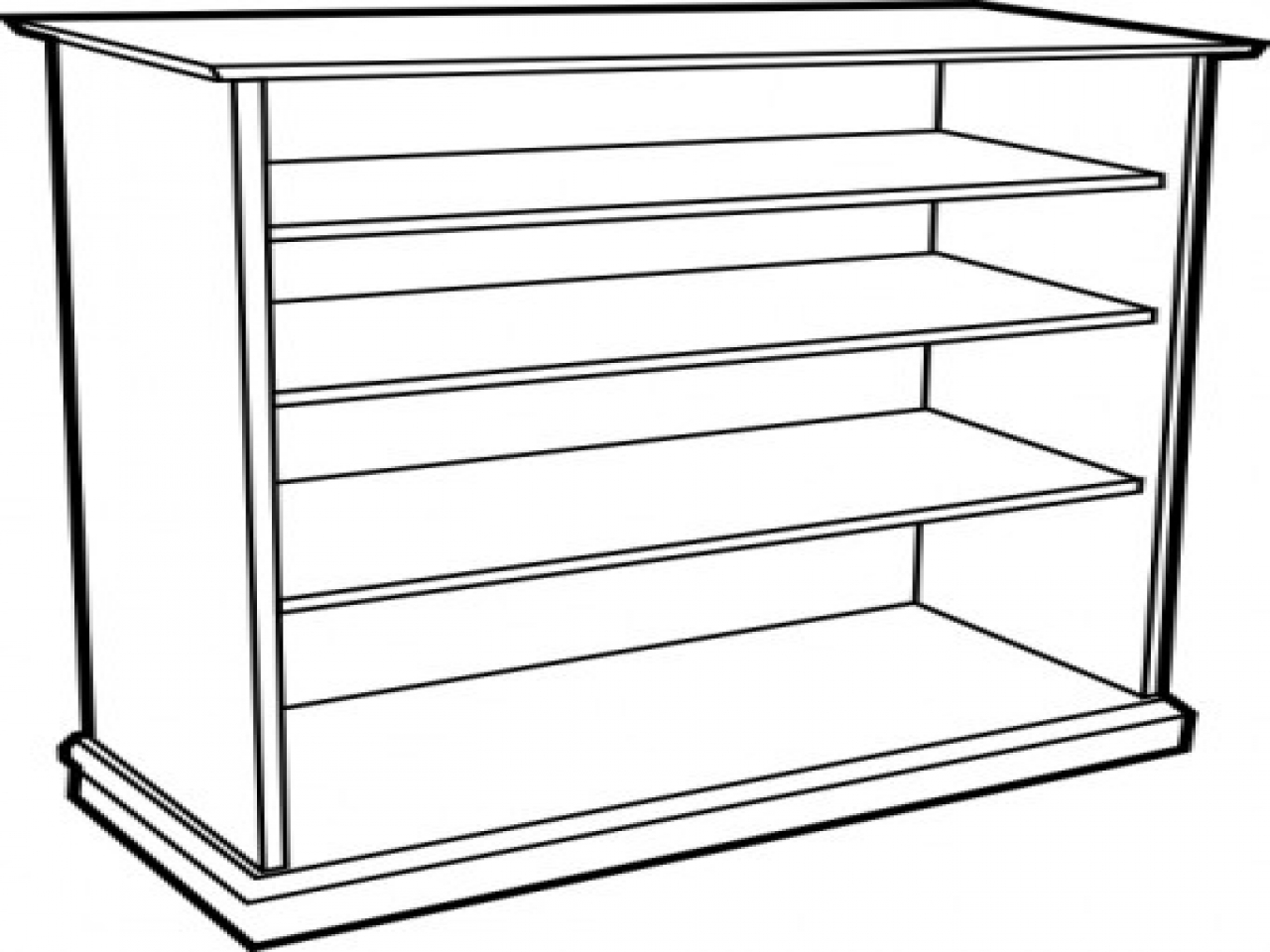 Shelf clipart black and white.