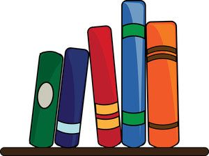 Books Clipart Image: Clipart Illustration of a Books Lining.