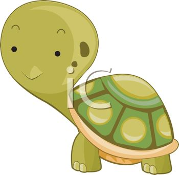 Clip Art of a Cute Turtle With His Head Out of His Shell.