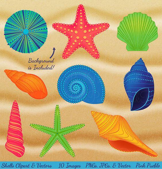 Shells Clipart Clip Art, Beach Ocean Travel Vacation Clip Art.