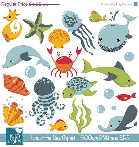Under the Sea clipart, cute sea animals, sea clip art, scrapbook.