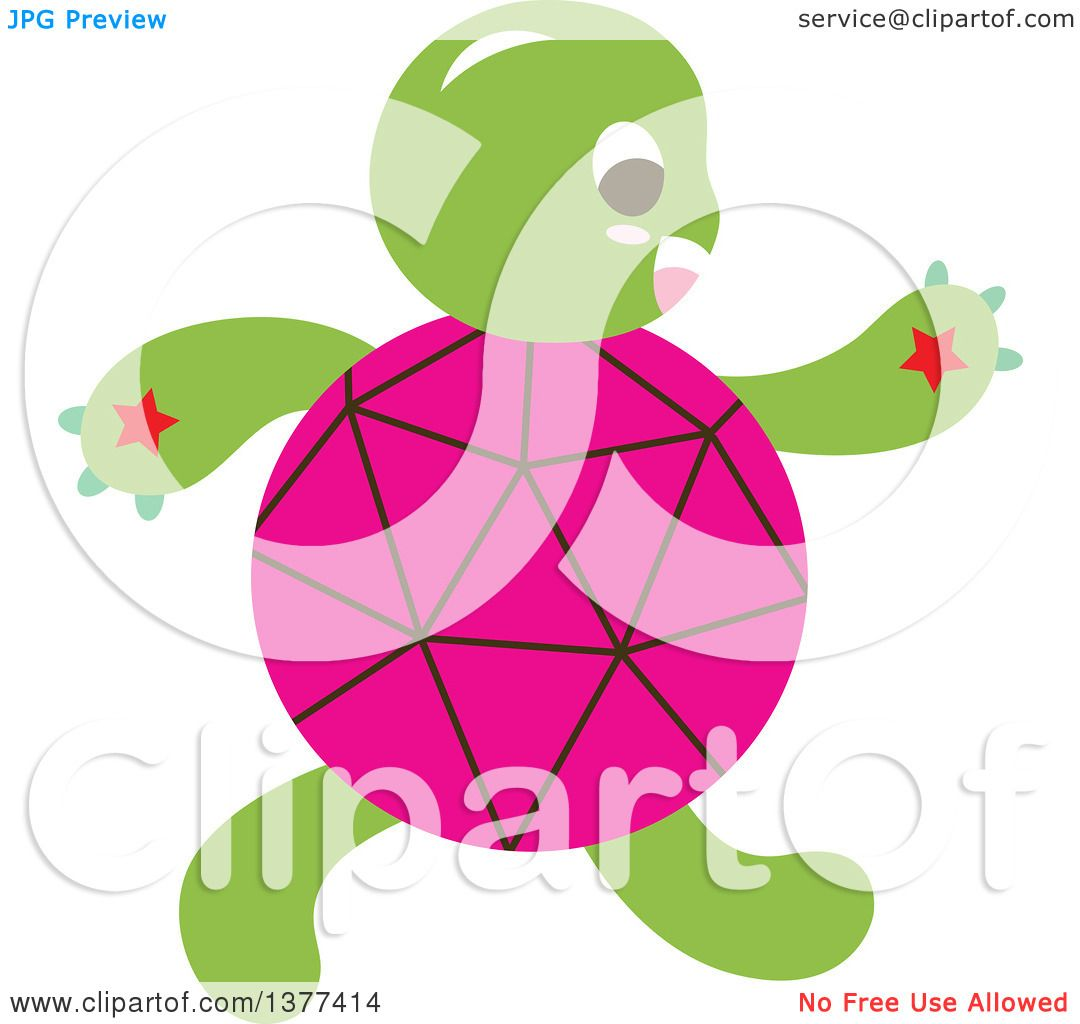 Clipart of a Pink Shelled Turtle Walking Upright.