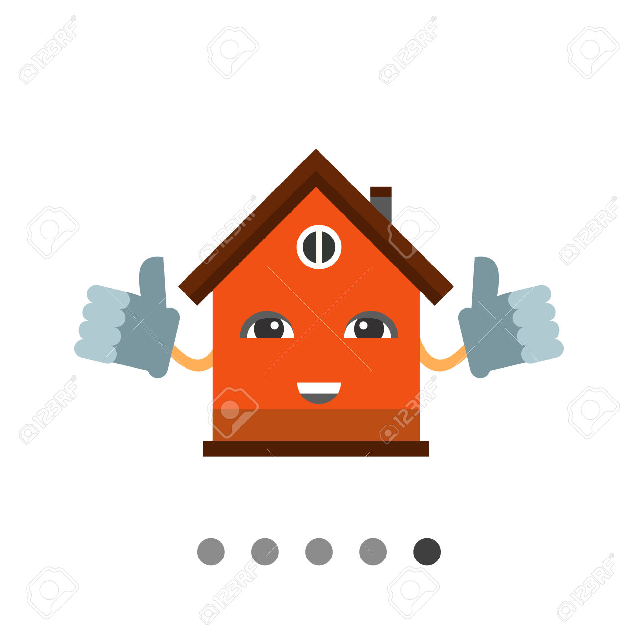 Smiling Cartoon House Holding Thumbs Up. Mascot, Home, Shelter.