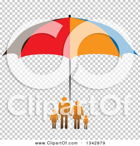 Clipart of a Gradient Orange Family Sheltered Under an Umbrella.