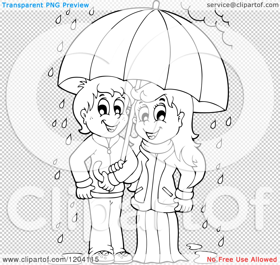 Cartoon of a Happy Black and White Children Sheltered from the.