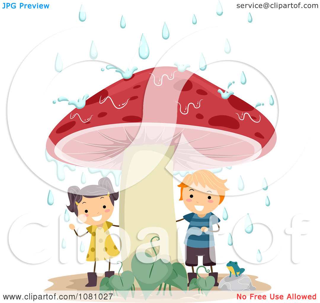 Clipart Stick Kids Sheltered From Rain Under A Mushroom.