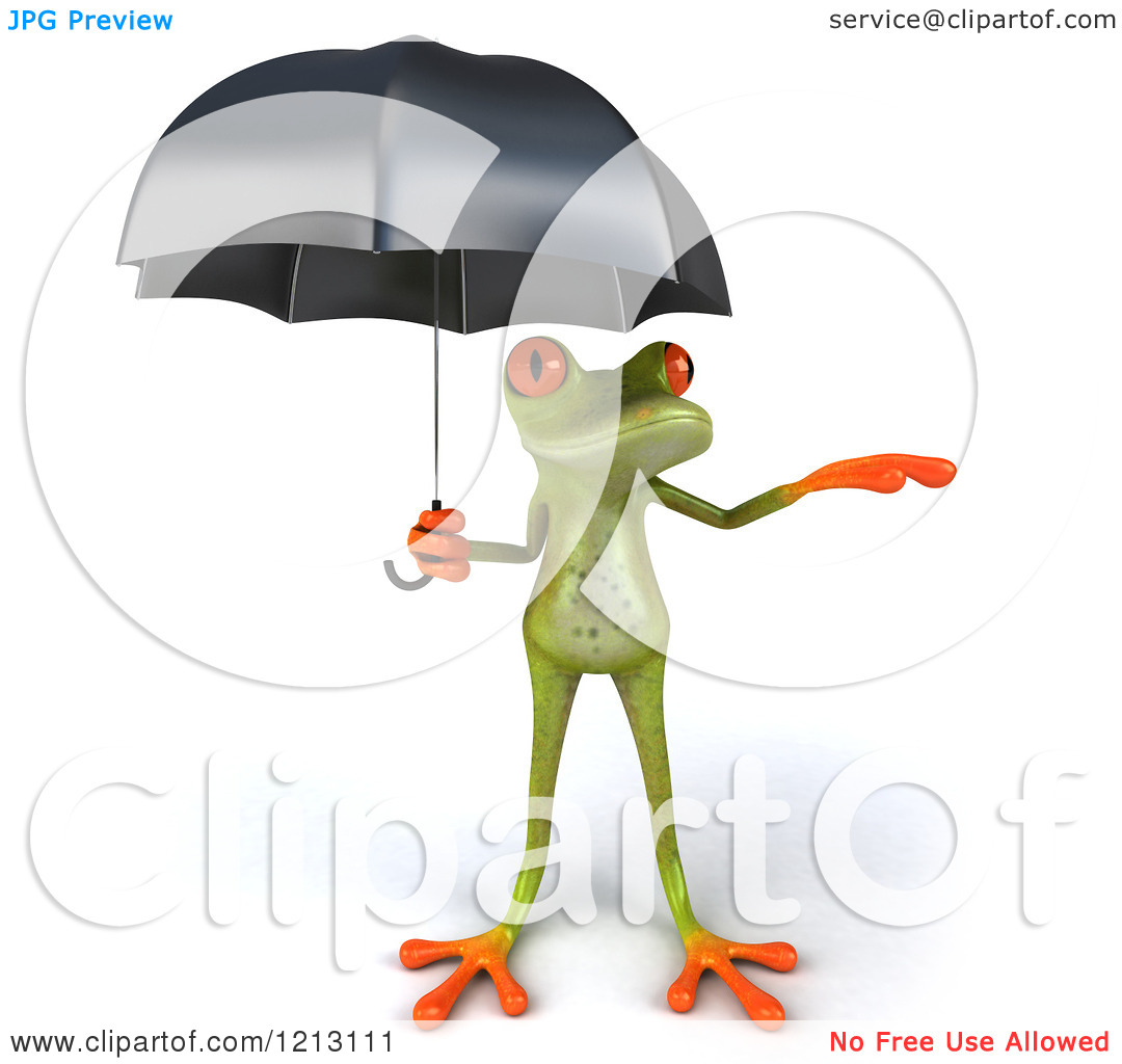 Clipart of a 3d Springer Frog Sheltered Under an Umbrella and.