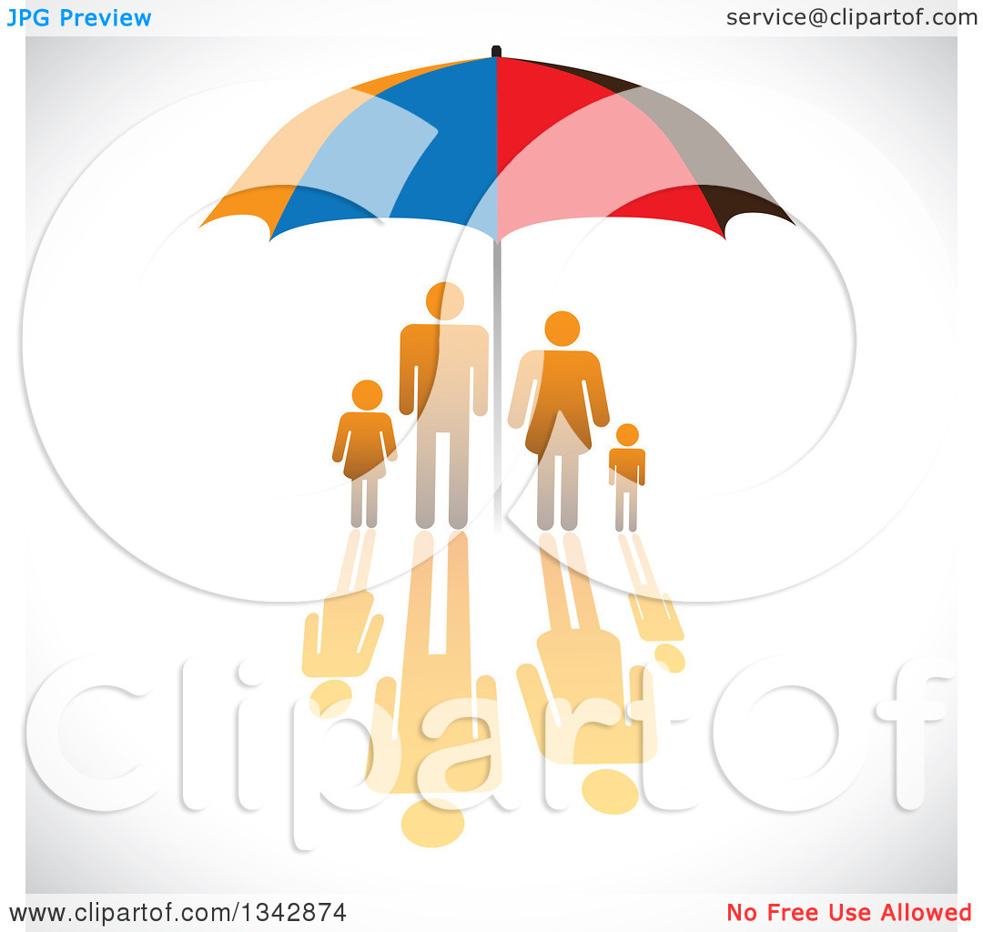 Clipart of a Gradient Orange Family with a Reflection, Sheltered.