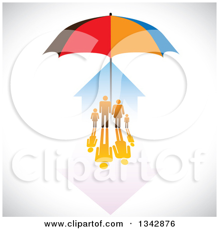Clipart of a Family and House Sheltered Under an Umbrella over.