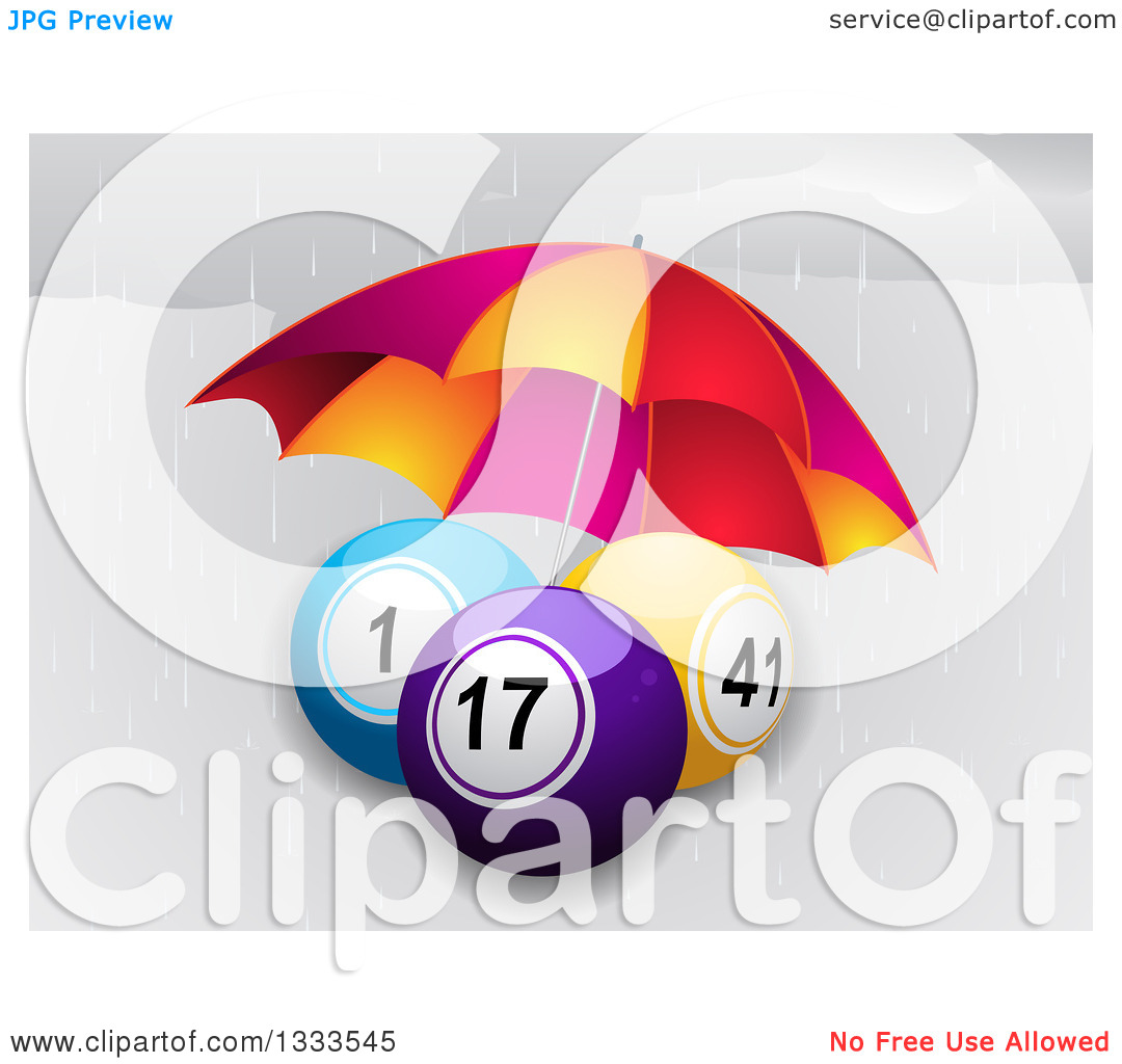 Clipart of 3d Bingo or Lottery Balls Being Sheltered from the Rain.