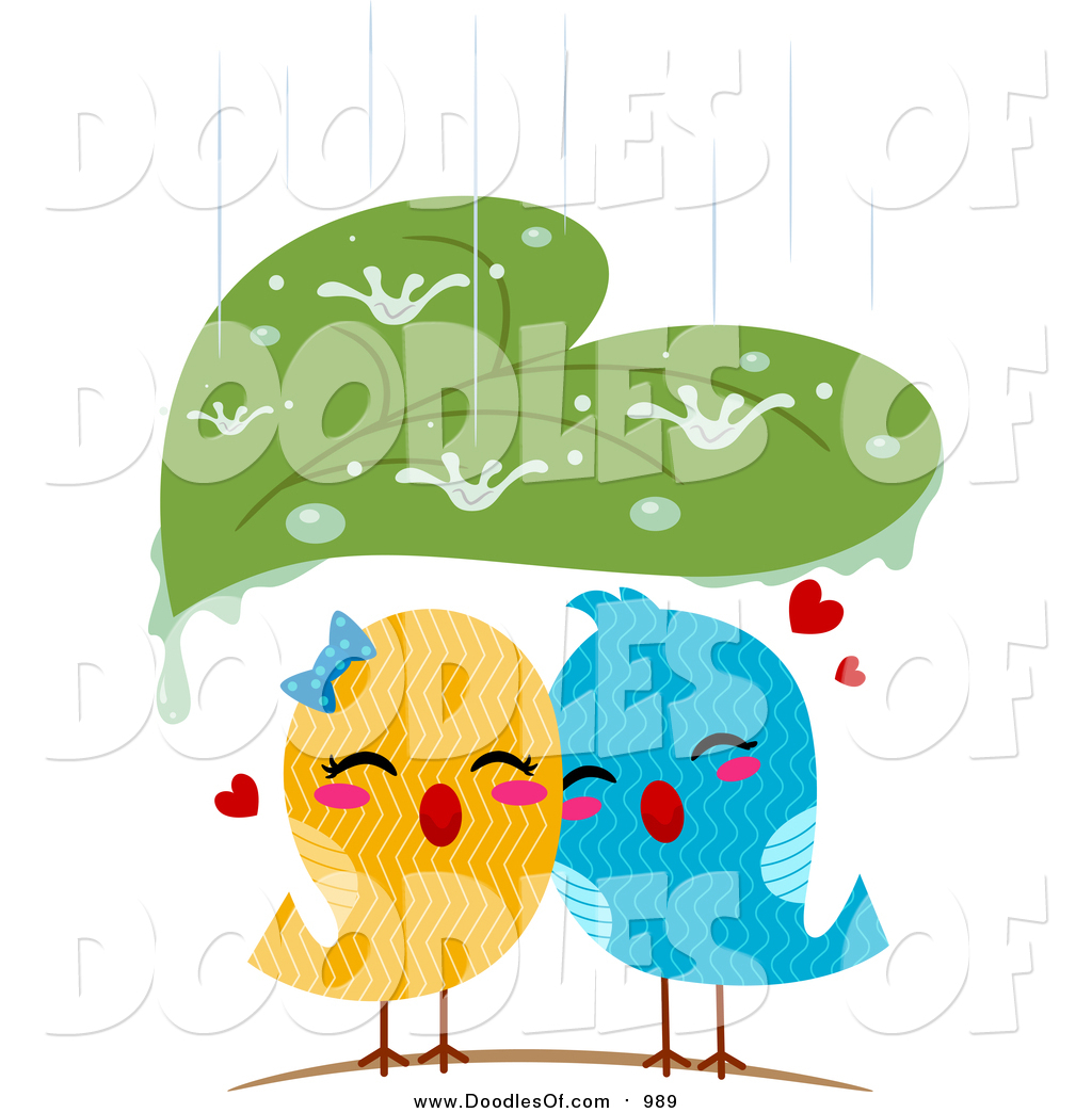 Vector Clipart of a Leaf Sheltering Love Birds from the Rain by.